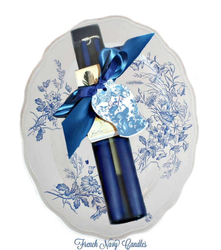 Hand Dipped French Navy Taper Candles Gift Set