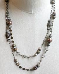 Mixed Metals Wrap Necklace