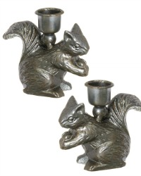 French Country Metal Squirrel Candle Holder Pair