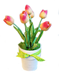 French Pink Tulips in White Pot