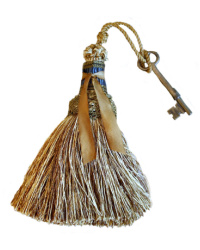 Parisian Atelier Gold & Blue Tassel with Antique French Key