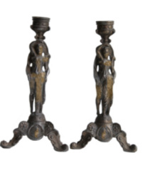 Antique French Spelter Pair Candle Holders Maidens
