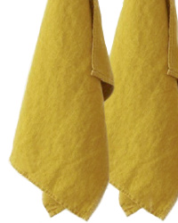 European Country Linen Tea Towels Set of 2 Vert Chartreuse
