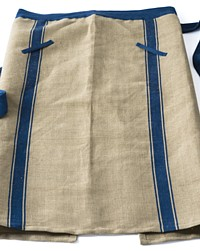 Long European Chef Apron Blue Stripe