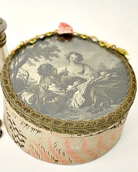 Antique French Eglomise Trinket Bon Bon Box with Lithograph under Glass