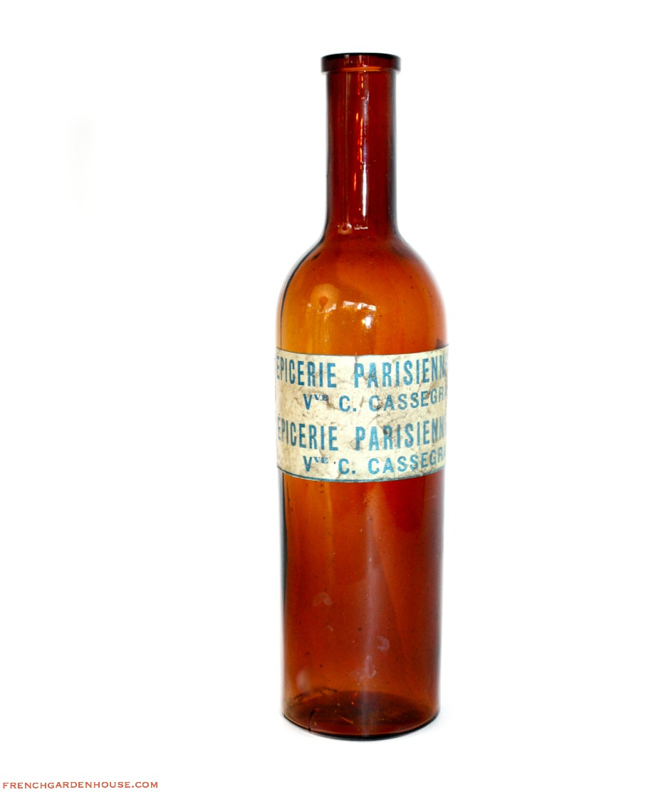 French Amber Brown Glass Bottle Epicerie Parisienne