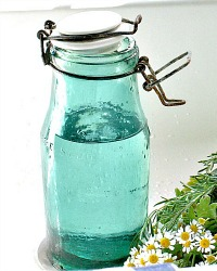 Vintage French Aqua Glass Canning Jar White Ironstone Lid