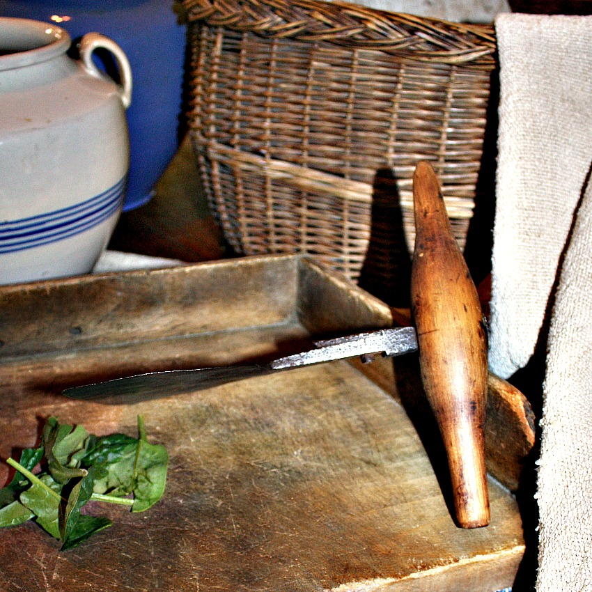 Antique French Country Wood and Iron Herb Cutter