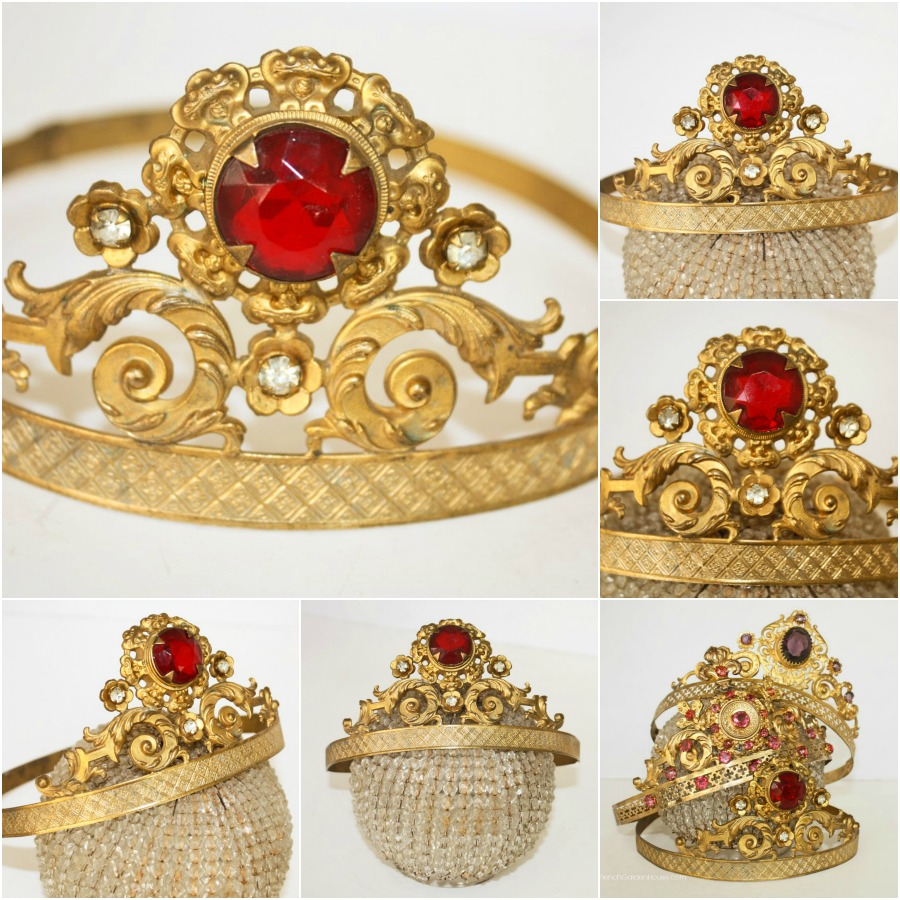 19th Century French Repousse Gilt Religious Tiara Ruby Red