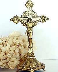 Antique French Crucifix Gilt Standing Cross
