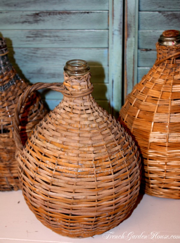 French Bonbonne Basket Bottle Demijohn A