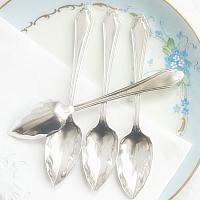 Vintage English Silver Plate Fruit Spoons Set of 4
