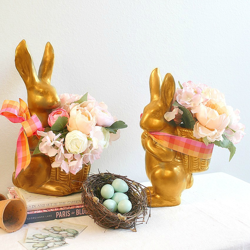 Mademoiselle et Monsieur Gold Bunnies Pair