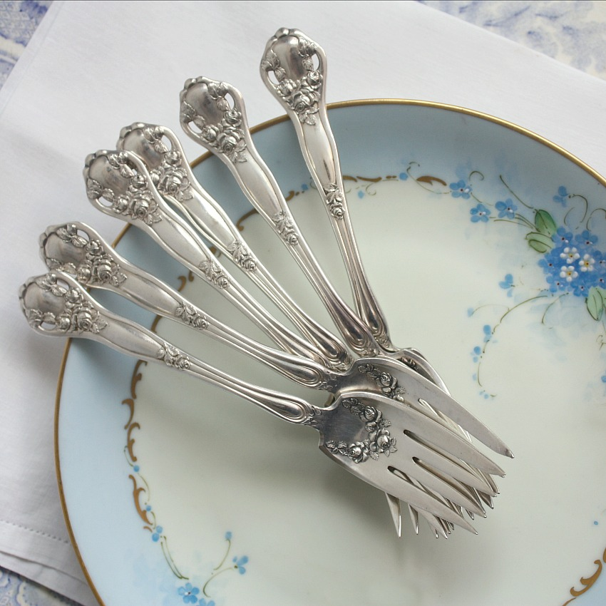 Antique Rose Garland Silver Plate Cake Forks Set of 6