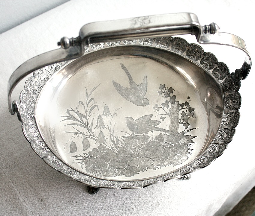 Antique Aesthetic Silver Plate Cake Basket Birds Nest