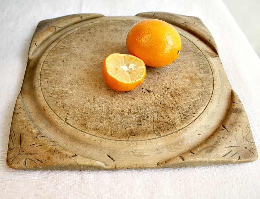 Antique Hand Carved Country Square Bread Board