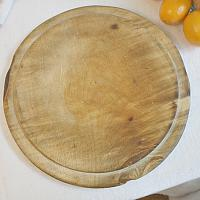 Antique Hand Carved Round Bread Board Waste Not