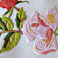 Exceptional Hand Embroidered Rose Linen Tablecloth