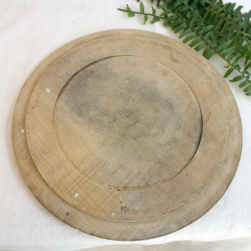 Antique Round Bread Board Ferns