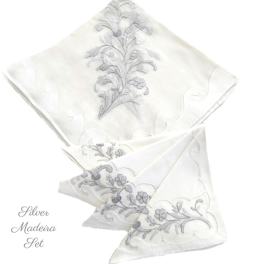 Madeira Organdy Table Cloth and Napkin Set Set Silver