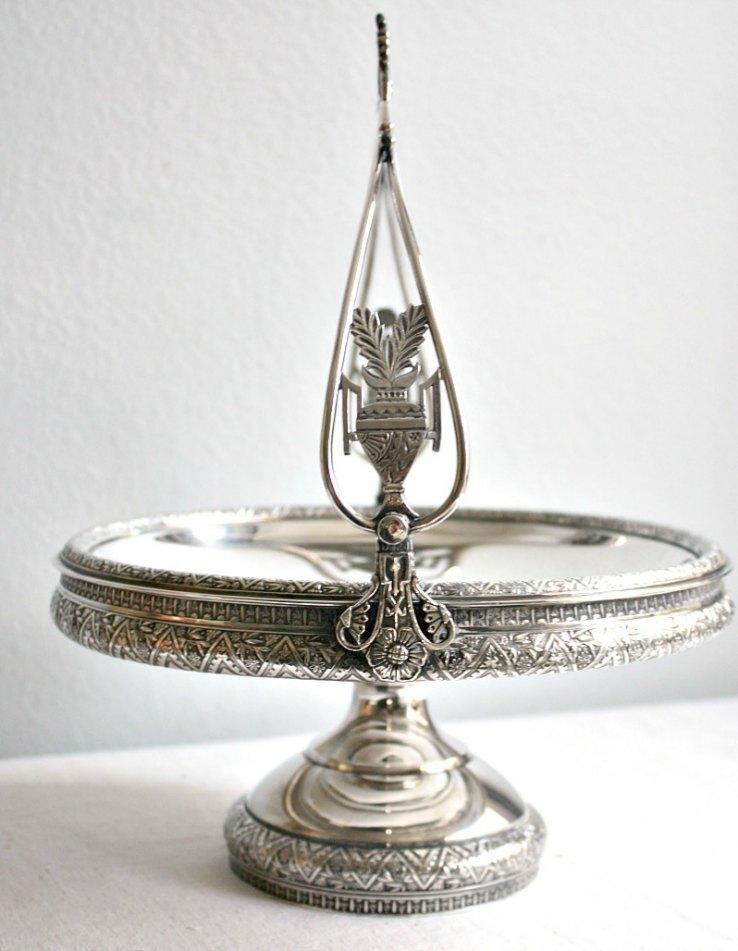 Antique Victorian Silver Plate Ornate Brides Cake Basket Floral Urn