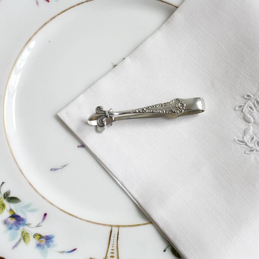 Antique Sterling Tete-A-Tete or Bon Bon Tongs Fleur de Lis
