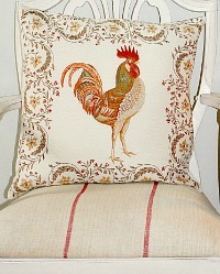 French Country Rooster Pillow Cover