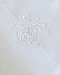 Madeira Hand Embroidered Triple Monogram Napkins Set 8