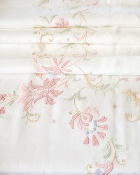 Heirloom Vintage Madeira White Floral Hand Embroidered Tablecloth 12 Napkins