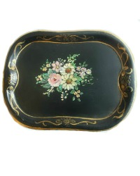 Miniature Hand Painted Floral Tole Tray