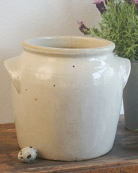 French Pot en Gres Enameled Brittany Preserving Jar