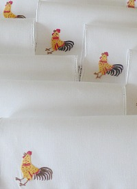 Vintage Hand Embroidered Madeira Rooster Cocktail Napkins Set