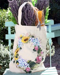 Provence Hand Painted Market Tote Bag Natural Flower Wreath