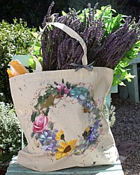 Provence Hand Painted Market Tote Bag Natural