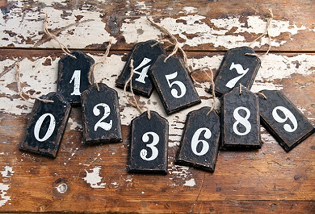 Vintage Inspired Wooden Number Tags 0-9  Set of 10