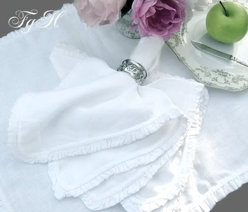 Belgian Linen White Ruffled Napkin Set of 4