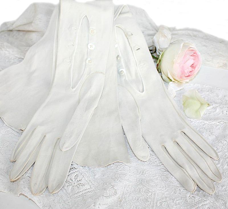 French White Kidskin Opera Gloves Hand Sewn