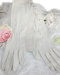 French White Kidskin Opera Gloves Hand Sewn