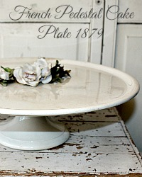 Rare 19th Century French Antique Ironstone Pedestal Cake Plate 14 1/2""