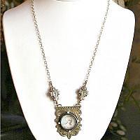 Antique French Hand Painted Portrait Necklace