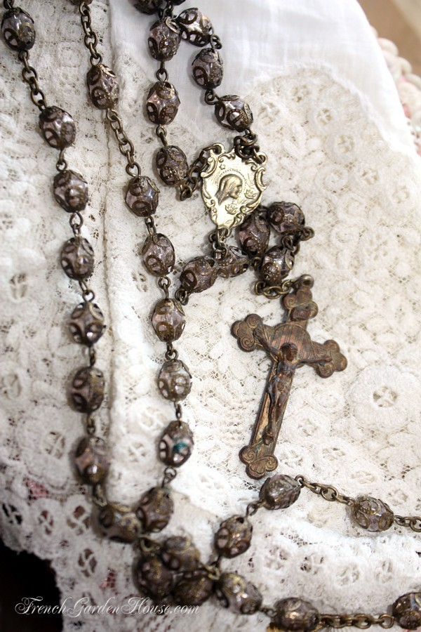 Antique French Glass Pale Pink Rosary