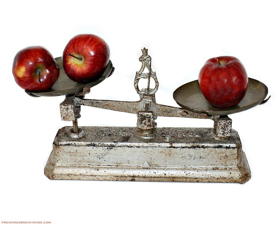 Antique French Cast Iron & Brass Bakery Balance Scale