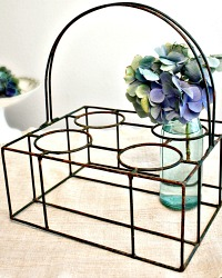 Vintage French Wire Bottle Carrier Forest Green Metal