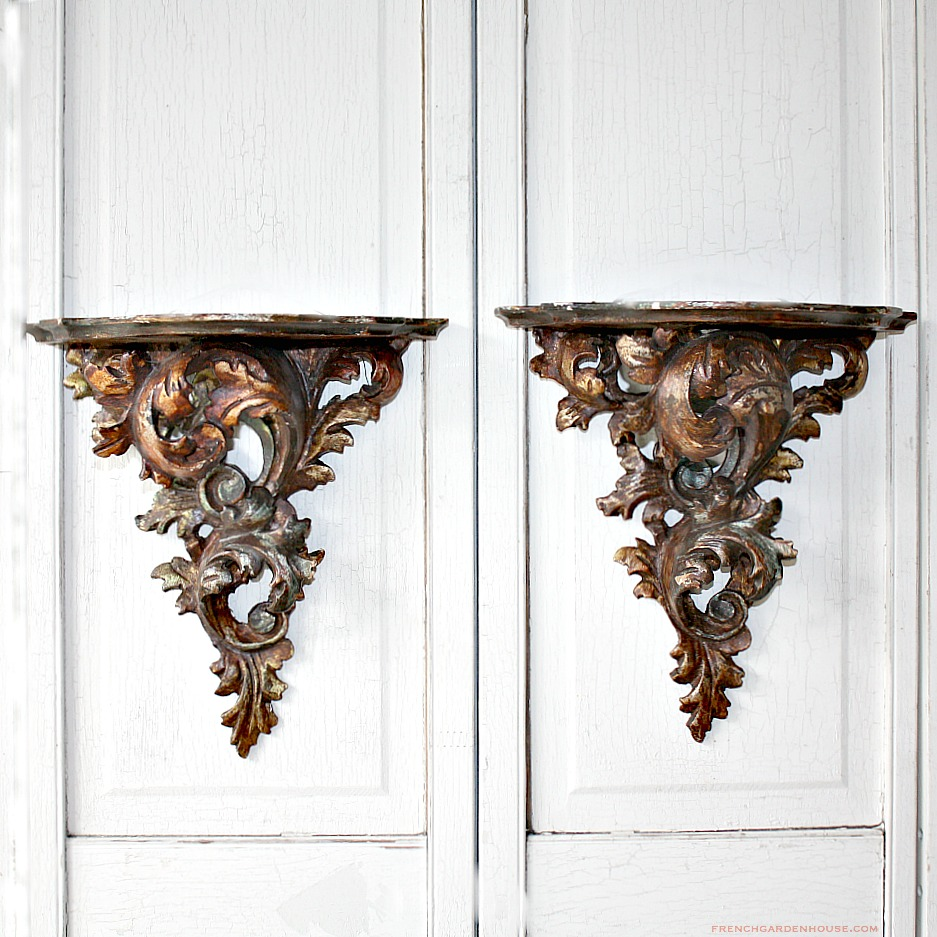 Antique Hand Carved Gilt Louis Xv Style Wall Brackets Pair