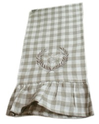 Linen Checked Bee Towel with Ruffle Cafe au Lait