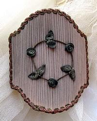 Antique French Boudoir Silk Half Shade Metallic Ribbonwork