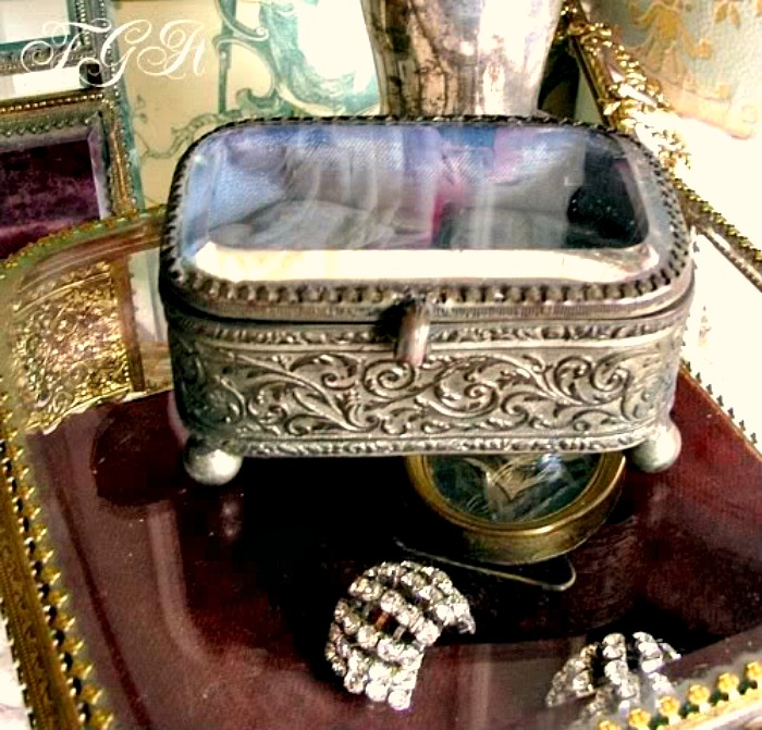 Antique French Ormolu Jewelry Display Casket