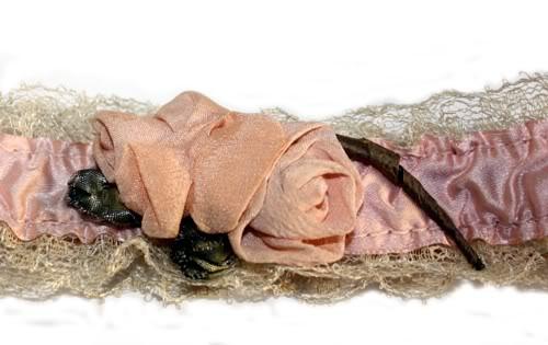 Antique Pink Apricot Satin Garter Ribbonwork Roses