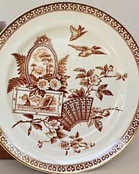 Antique 1800's Brown Aesthetic Transferware Plate Gilt Birds