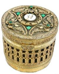 Antique Gilt Jeweled Empire Art Vanity Box Hand Painted Portrait